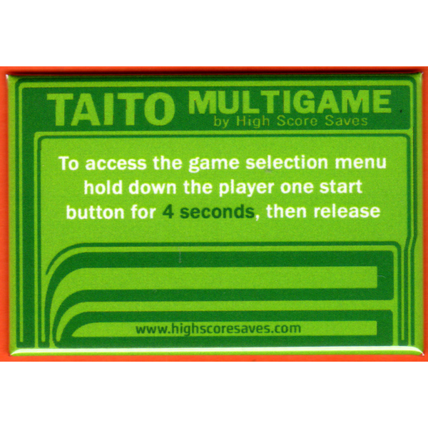 Multi Taito Multigame Instruction Magnet - Green