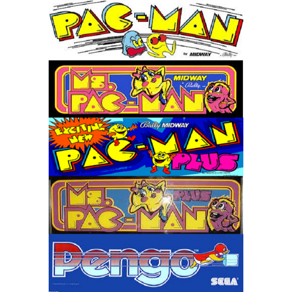 Pacman multigame free play and high score save kit