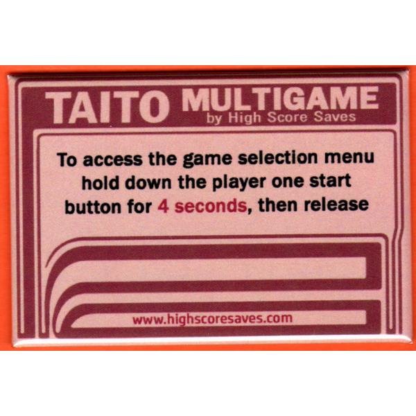 Multi Taito Multigame Instruction Magnet - Brown