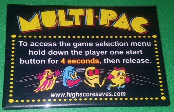 Pacman Multigame Instruction Magnet